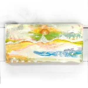 Original Painting Colorful Abstract Sun Landscape